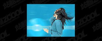 Escuchar material de imagen de mujer de música