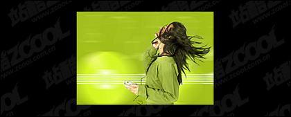 Escuchar música mujer imagen material-2