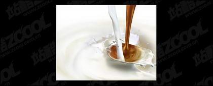 Material de imagen de leche y café ciudad de vida