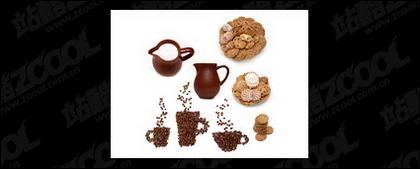 Makanan penutup kopi susu kualitas gambar bahan