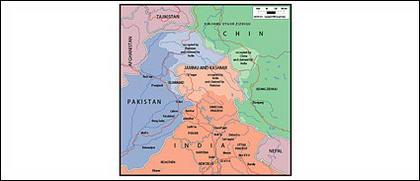Vektorkarte von der Welt - Kaschmir, Jammu-Karte