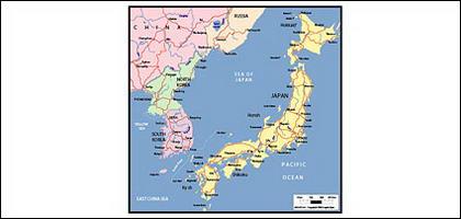 Mapa de vetor do mundo - mapa do Japão