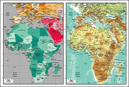 Mapa de vetor do material requintado mundo - Mapa da África