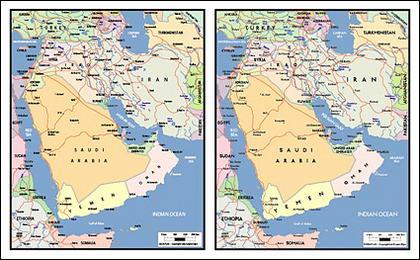 Mapa de vetor do material requintado mundial - o mapa da Península Arábica