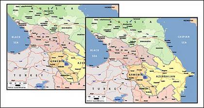 Векторная карта мира изысканный материал - карта Кавказа