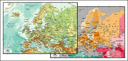 Векторная карта мира изысканный материал - карта Европы