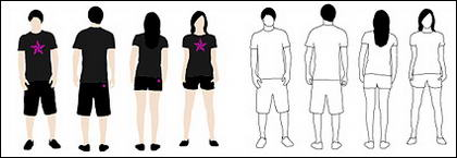 T-Shirt vektor model bahan