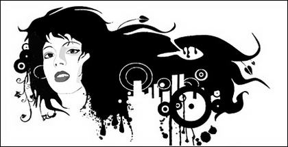 Perempuan hitam dan putih potret bahan vektor tren