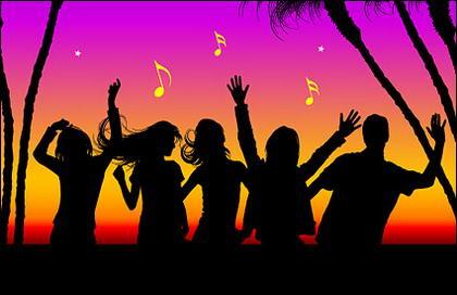 Orang menikmati musik kehidupan kota di gambar vektor bahan