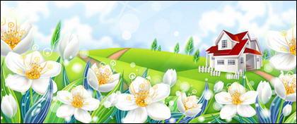 ภูมิประเทศชนบทดอกไม้ของเวกเตอร์วัสดุ