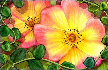الزهور وأوراق الشجر