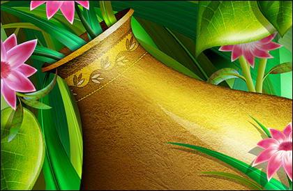 Oro jarrón con flores en capas