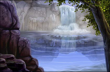 Psd सामग्री दर्शनीय झरना से बहने वाला पानी