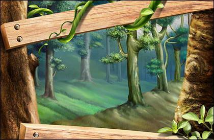 Madeira, árvores, folhas, planta de rattan