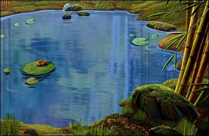 Lagoas, folha de lótus, o sapo