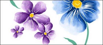 Flores pintados à mão em camadas psd-1 material