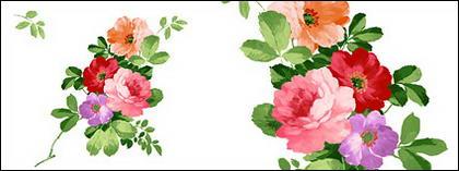 花の手描き素材 psd 3 層