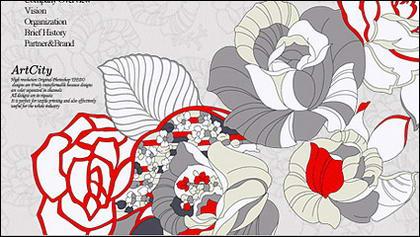 手描きのバラ psd 線画効果材料層
