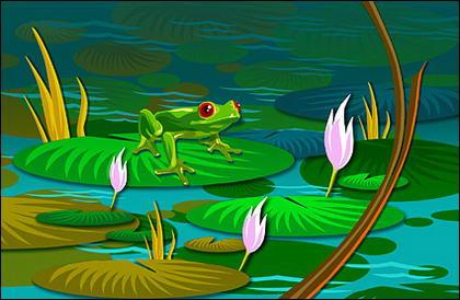 Лягушки листьев лотоса