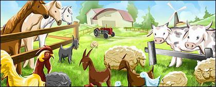ภาพประกอบการ์ตูนฟาร์ม Psd ชั้นวัสดุ