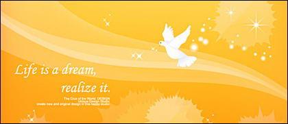 บรรทัดความฝันและ pigeons vector วัสดุพื้นหลัง