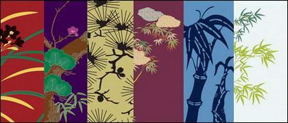 Vecteur série picturale traditionnel 4-plantes fleuries