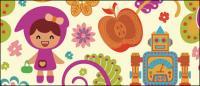 Мультфильм цветочный узор вектор материал