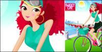 Мода девушка векторного материала Велоспорт