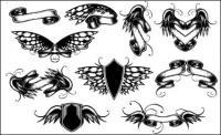 Крылья, ленты, Бабочка векторного материала