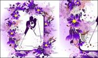 Брак, поцелуи, цветы векторного материала