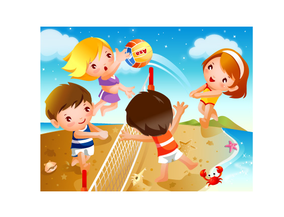 Keyword vector cartoon happy cute beach volleyball for Adaptacion jardin infantil