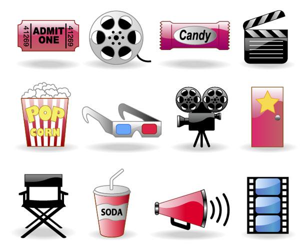 Schlsselwrter Film Ticket Popcorn 3D Brille Kamera Tor Stuhl Getrnke