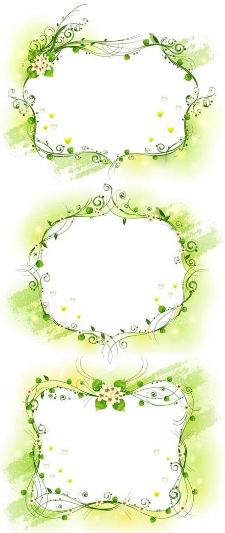 Elegante marco decorativo amarillo verdoso Vector