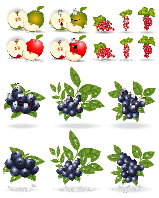 keywords apple grape blueberry leaves drops eyes cartoon