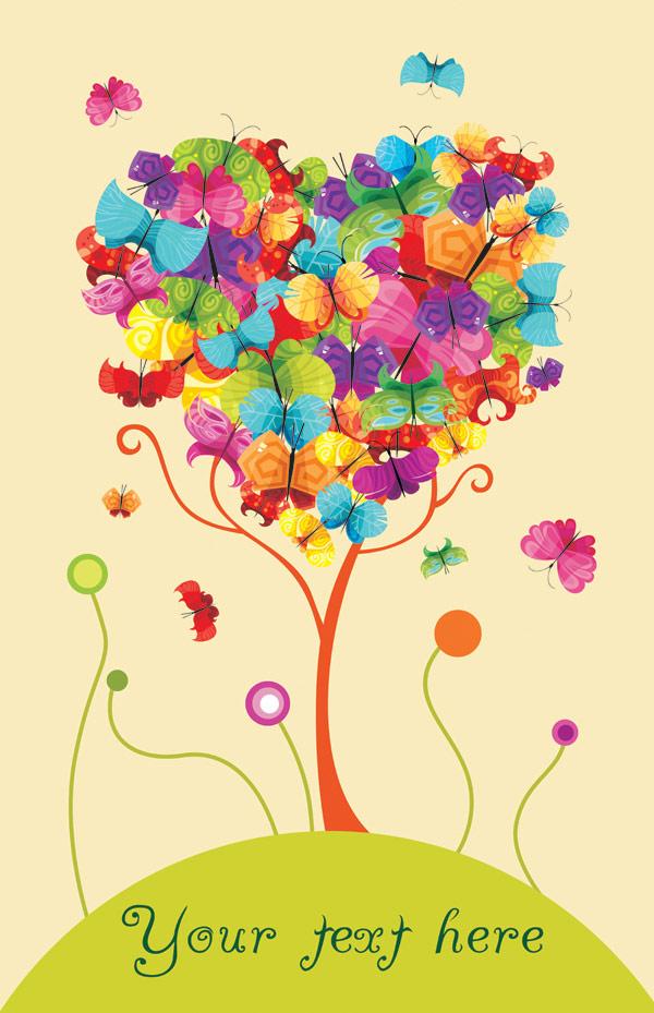 الكلمة الأساسية الأشجار، الفراشات الملونة على شكل قلب ناقل