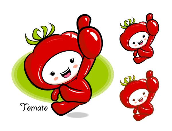 Caricature de tomates de tomate de mots-clés mignons mascotte du