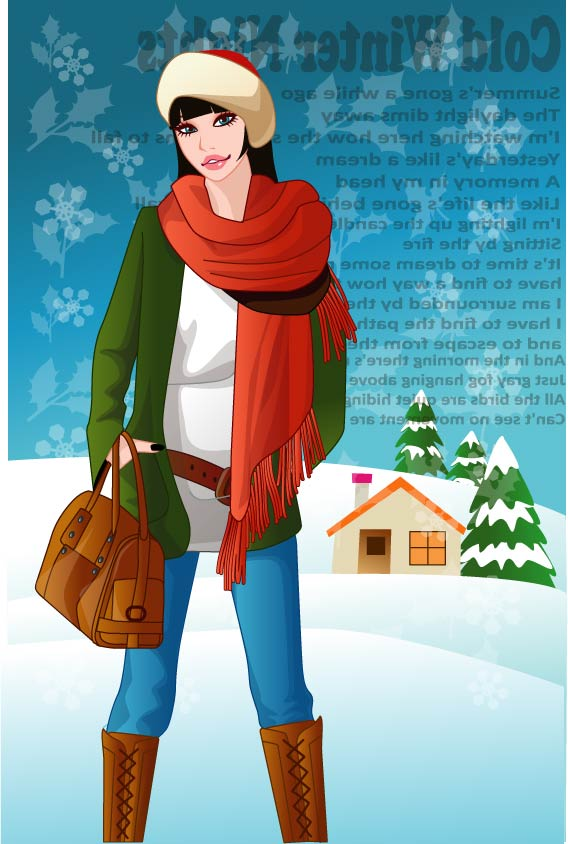 เวกเตอร์ฤดูหนาวสาว