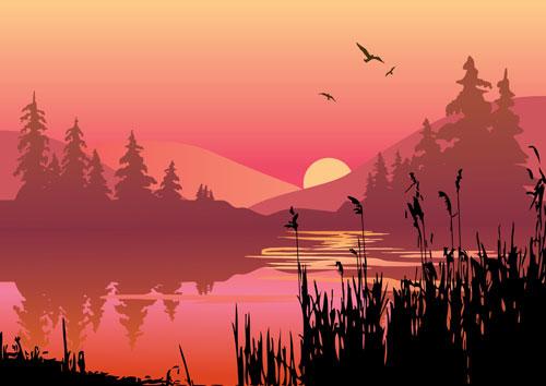 Lacs et montagnes au crépuscule vecteur matériel