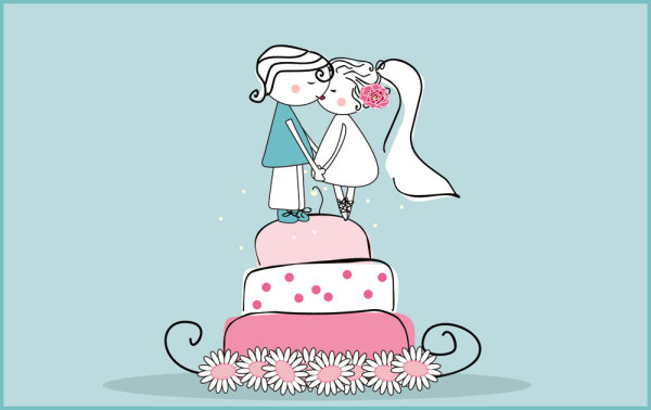 ... de la boda de dibujos animados-estilo 02--material de vectores