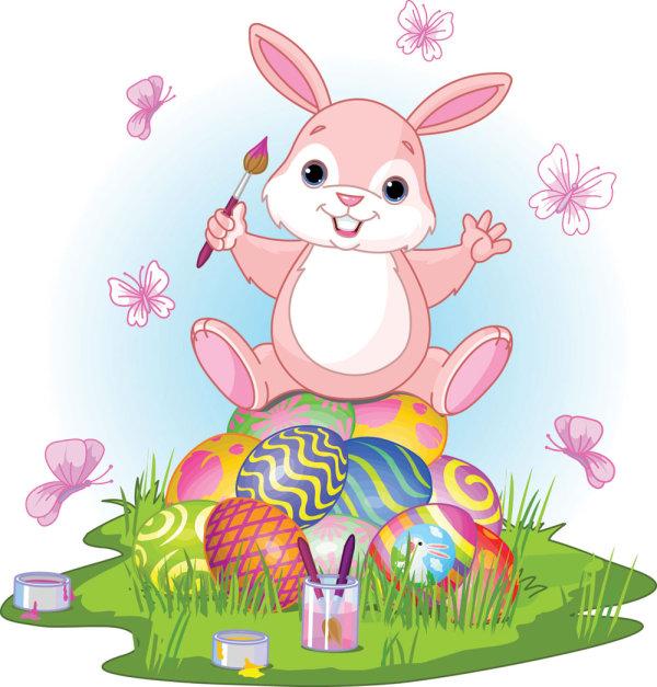 Palabras clave: caricaturas, conejos, conejos, huevos, vector de ...