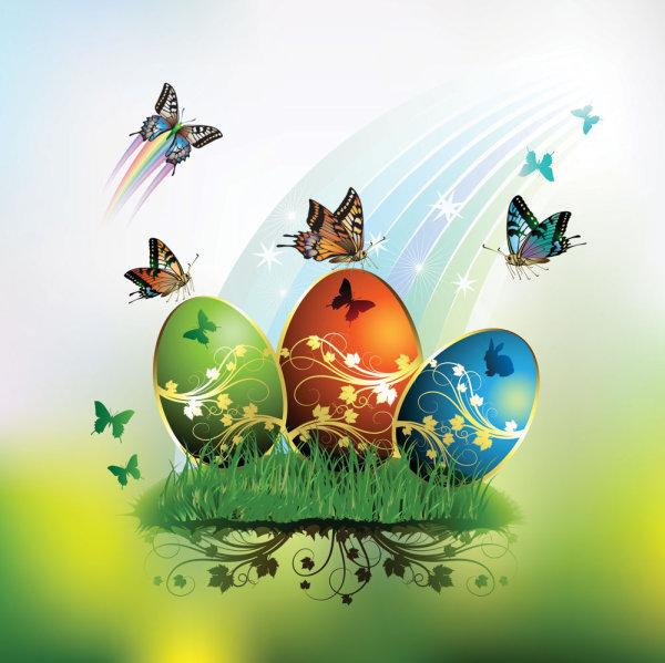 Tarjeta de Pascua mariposas y huevos decorados 01 - vector
