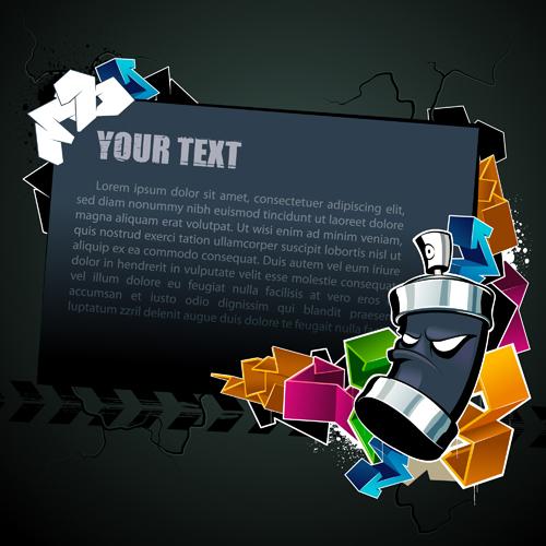 Cool text box fond noir vecteur matériel -2