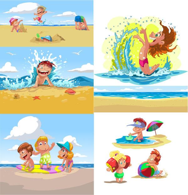 Dibujos de niños jugando en la playa - Imagui