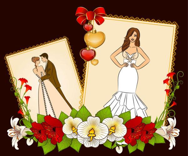 Kata Kunci Pernikahan Kartu Pos Cinta Pengantin Kartun Indah
