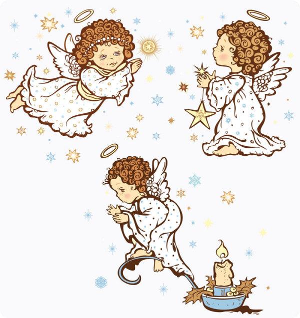 Palabras clave: imagen de caricatura de un ángel, halo, estrellas ...