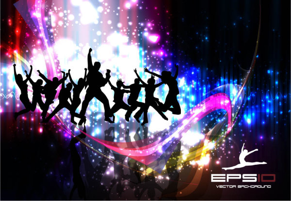 Silhouette Dance Music Abstract Background: Palabras Clave: Bailarines, Baile, Escenario, Luces, Un