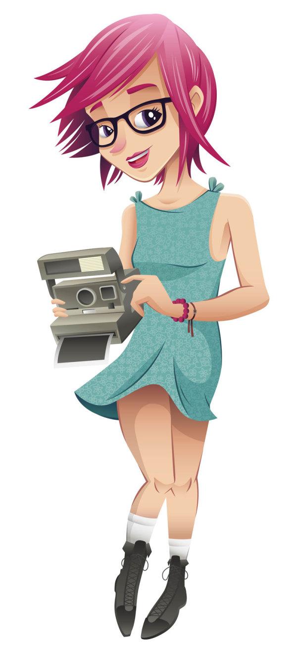 Cartoon หญิง 03 - เวกเตอร์วัสดุ