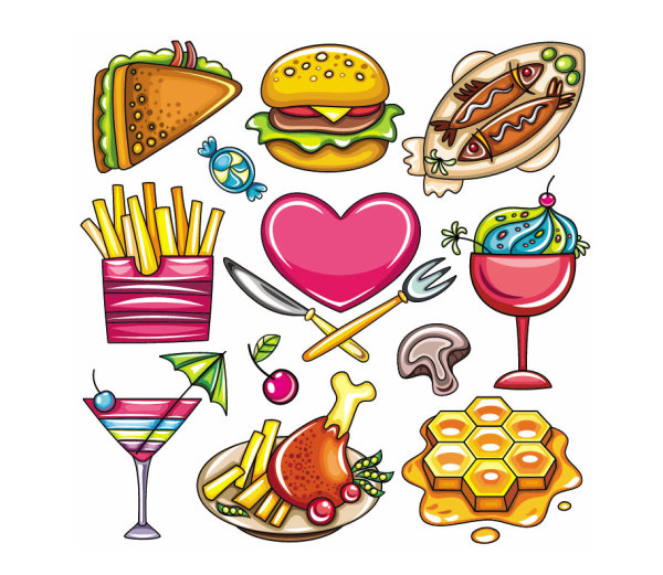 Keywords: cartoon, food, sandwiches, hamburgers, candy ...