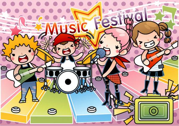 Kata Kunci Kartun Musik Ilustrasi Gadis Headset Pertunjukan Band Poster Vektor Bahan