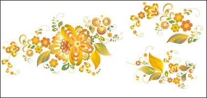 ลวดลายดอกไม้สวยงาม - วัสดุเวกเตอร์